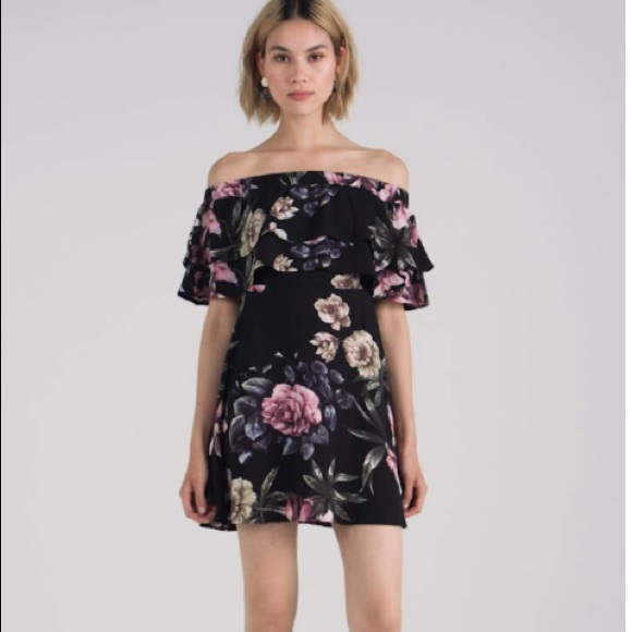 f6f7577ab7 Missguided Black Floral Bardot Skater Dress